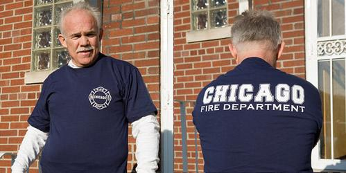 Silk Screened T Shirt With Chicago Fire Department Logo